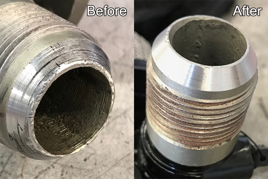 Repaired fitting on aircraft boost pump