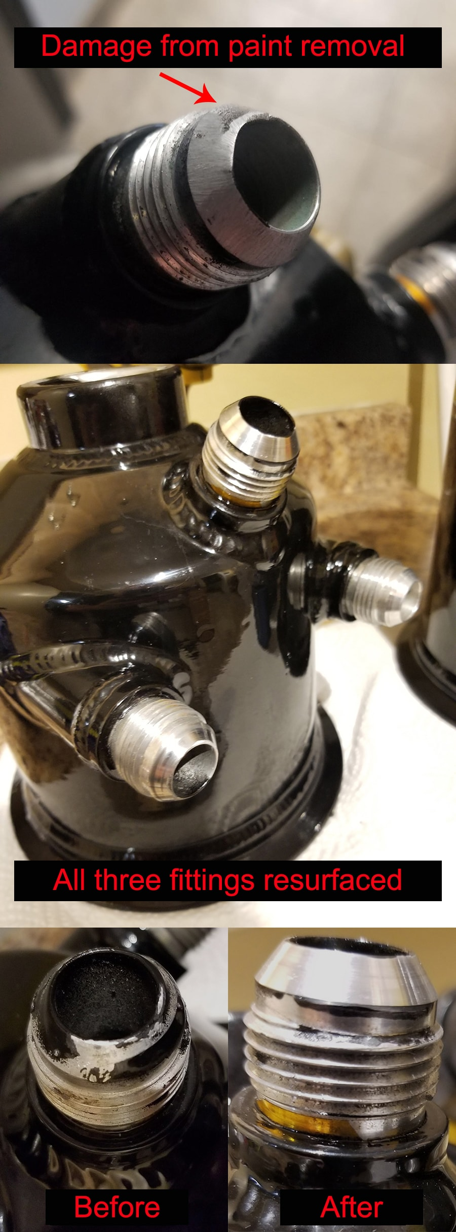 Image of repaired fittings on tank